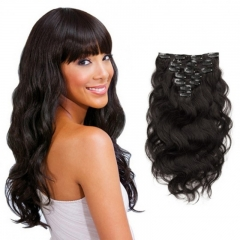 Brazilian Body Wave Hair Clip In Virgin Hair Extensions Natural Black