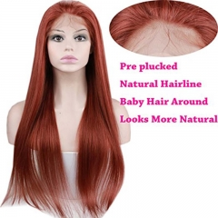 Brazilian Hair Straight Human Hair Pre Plucked Lace Wigs #35 Color With Baby Hair For Black Women