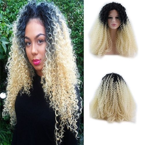 Afro Kinky Curly Wig 130% Density Black Rooted Blonde Ombre Heat Resistant Fiber Curly Synthetic Wig Lace Front Ombre Intense Natural Curly for