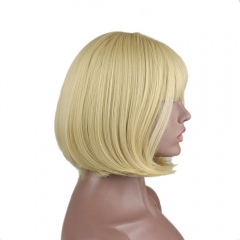 pwigs Fashion Blonde Heat Resistant Straight Synthetic Hair Full Fringe Bangs Short Bob Wigs For Women