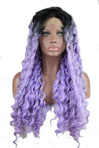 Deep Wave Black Root Purple Ombre Synthetic Lace Front Wig Heat Resistant Fiber Synthetic Free Part Lace Front Wigs For Fashion Women 24inch