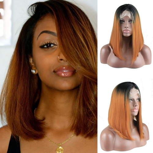 Synthetic Short Straight Lace Front Bob Wigs Fashion Hairstyles Golden Brown Ombre Wig with Free Part for Black Women