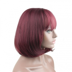 Pwigs New Arrival Wine Red 99J Full Bangs Wig Machine Wig Women Straight Synthetic Bob Wig
