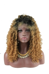 pwigs New Afro Kinky Curly Wig Brown Dark Root Heat Resistant Fiber Curly Synthetic Wig Lace Front Ombre Intense Natural Curly for Women