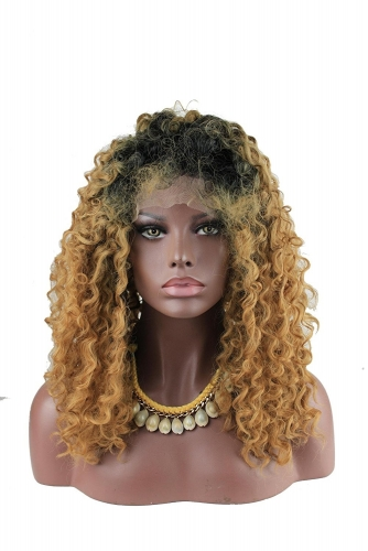 New Afro Kinky Curly Wig Brown Dark Root Heat Resistant Fiber Curly Synthetic Wig Lace Front Ombre Intense Natural Curly for Women