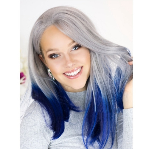 Synthetic Long Blue Ombre Wig Two Tone Grey Root Dark Blue Ombre Straight Lace Front Wigs 130% High Density Heat Resistant Fiber Hair Half Hand