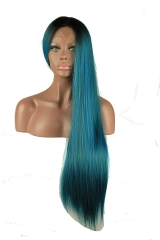 pwigs Long Dark Root Blue and Green mixed color Ombre Two Tone Cosplay Party Wig Heavy Full Straight Lace Front Heat Resistant Synthetic Hair Wig for