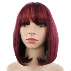 Pwigs Beautiful Women's Short Straight Hair Wig Honey Blonde Cosplay Wig Costume Party Hair Neat Bangs Bob Wigs