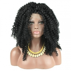 pwigs Afro Curly Synthetic Lace Front Wig Heat Resistent Long Curly Wigs For Black Women Peruque Synthetic Natural Black Color 24inch