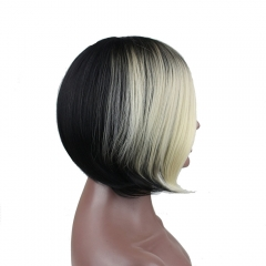 Pwigs Synthetic Short Bob Hair Black Wigs Blonde Highlights Bob Wigs For Women Lady Short Straight Hair Wigs Blonde Side Bangs False Hair