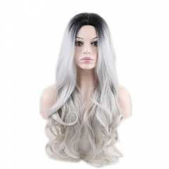 pwigs Synthetic Long Wave Ombre Wig Two Tones Black Rooted Grey Heat Resistant Cheap Middle Part Wig 130% High Density for Women