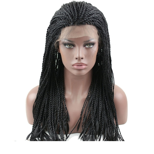Cheap Braided Hair Wig Synthetic Lace Front Wigs for Black Women Natural Black Color 24inch