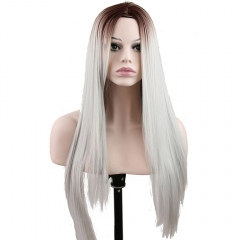 pwigs Heat Resistant Synthetic Long Straight Hair Two Tone Black and Grey Ombre Front Lace Wig 18inch Fiber Synthetic Wigs for White Women