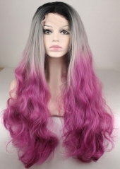 pwigs New Fashion Long Wavy Black Gray and Purple red Synthetic Lace Front Wig 3T Color Wig 130% High Density for Fashion Women