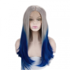 pwigs Synthetic Long Blue Ombre Wig Two Tone Grey Root Dark Blue Ombre Straight Lace Front Wigs 130% High Density Heat Resistant Fiber Hair Half Hand