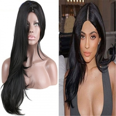 pwigs Natural Long Straight Heat Resistant Wig Full Synthetic Part Wigs Natural Black Color Beautiful Hair 130% High Density For Women