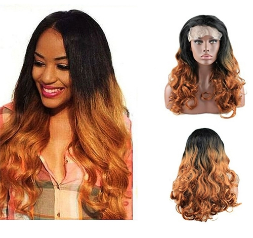 Loose Wave Curly Wig Black Rooted Brown Ombre Synthetic Hair Lace Front Wigs Fashion Hairstyles For Women 20inch