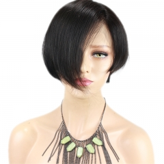 Short Bob Hairstyles Lace Front Human Hair Wigs With Baby Hair Pre Plucked Malaysia Hair Bleached Knots