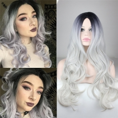 Fashion Silver Grey Wavy Synthetic Lace Front Wig With Bangs Glueless Long Heat Resistant Hair Natural Women Wigs (22inch)