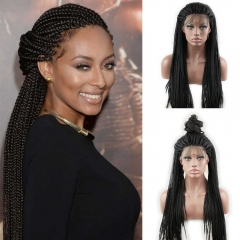 pwigs High Quality Synthetic Braided Hair Free Part Natural Black Color for Women 24inch