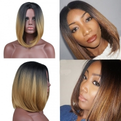 pwigs Two Tones Ombre Wig Black Root Blonde/Brown Medium Long Straight Synthetic Wig for Black Women