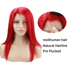 Red Hair Color Malaysia Hair Straight Human Hair Pre Plucked Lace Wigs With Baby Hair For Black Women