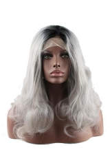 pwigs Ombre Grey Bodywave Synthetic Lace Front Wig Glueless Short Natural Black 1B/Gray Heat Resistant Hair Wigs New