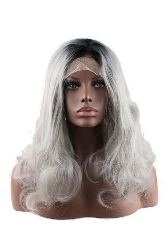 Ombre Grey Bodywave Synthetic Lace Front Wig Glueless Short Natural Black 1B/Gray Heat Resistant Hair Wigs New