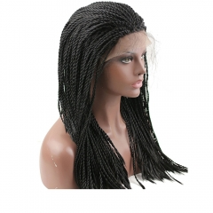 pwigs Cheap Braided Hair Wig Synthetic Lace Front Wigs for Black Women Natural Black Color 24inch