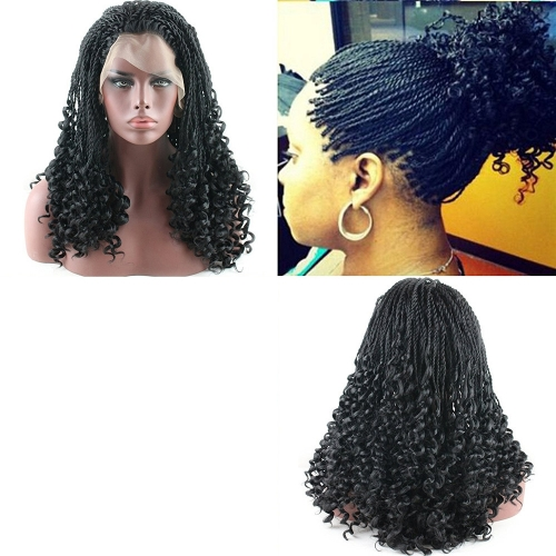 Black Twist Braids Hair Wigs Curly Braided Lace Front Wig with Baby Hair Synthetic Heat Resistant Fiber Glueless Half Hand Tied for Women 16inch
