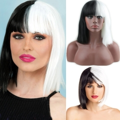 Pwigs Halloween Women Short Bob Silk Straight with Bangs Synthetic Black and White Ladies Two Tone Color Cosplay Wigs for Women