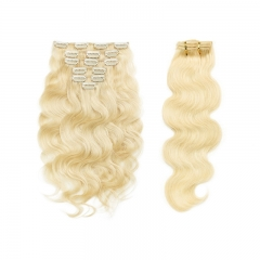 Clip In Hair Extensions Brazilian Hair Body Wave Virgin Hair #613 Colored Hair Hxtensions