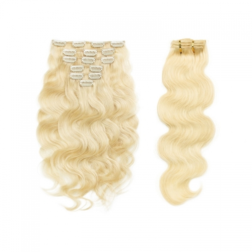 Clip In Hair Extensions Brazilian Hair Body Wave Remy Hair #613 Colored Hair Hxtensions