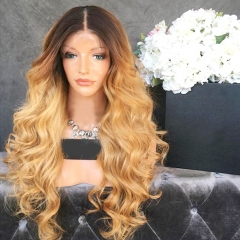 Brazilian human hair Ombre blonde #1B/27 Full lace wigs Dark root Loose wave Lace front wig Bleached knot Pre plucked hairline 150%density