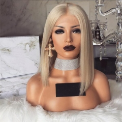 Glueless Lace Front Blond Human Hair Bob Wigs With Baby Hair Pre Plucked #60 Light Blonde Short Brazilian Full Lace Wigs Cap Top Grade Virgin Hair