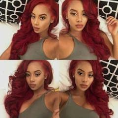 Red Color Malaysian Virgin Hair Body Wave Lace Front Wig Bleached Knots 13X6 Cap Construction Human Hair Wigs 130% Density BURG Hair Color