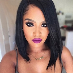 Deep Part 13X6 Short Lace Front Wigs Silky Straight Bob Wig Side Part Human Hair Wigs 100% Virgin Hair Brazilian Hair Wgs for Black Women