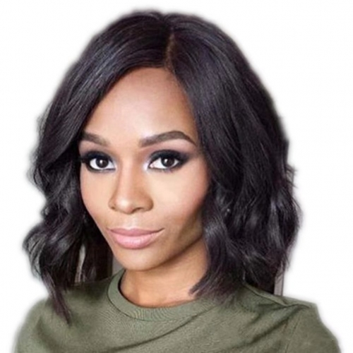 13x6 Frontal Wavy Lace Front Human Hair Bob Wigs for Black Women with Long Parting Space Human Hair Lace Front Wigs