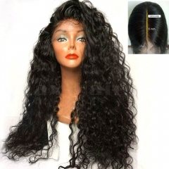 Deep Part Lace Front Wig Brazilian Human Hair Wigs Deep Curly Lace Wig For Black Women Natural Color 130-180 denisty