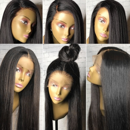 13x6 Pre Plucked Glueless Lace Front Wigs Brazilian Remy Hair Straight Lace Front Wigs Bleached Knot with Baby Hair