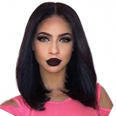 13x6 Long Parting Silky Straight Human Hair Bob Wigs Glueless Bob Cut Lace Front Wigs With Baby Hair Brazilian Virgin Bob Wig For Black Woman  Natural