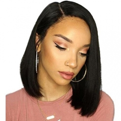 150% Density Virgin Brazilian Hair Short Lace Front Bob Wigs Human Hair 13x6 inch Right Parting Glueless Lace Frontal Wig With Baby Hair