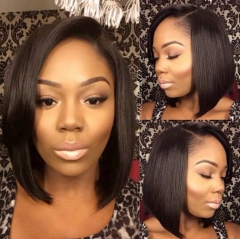 Human Short Hair 13x6 Lace Frontal Wigs Natural Color Human Hair For Women With 130% Density Natural Hairline