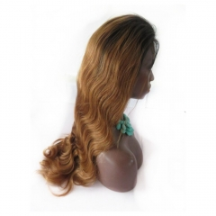 Ombre Lace Front Wig Two Tone Color #1b/#30 Body wave 13x6 130% Density Brazilian Front Lace Wigs Human Hair with Baby Hair