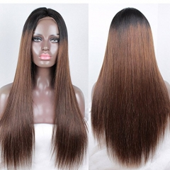 13X6 Lace Front Wigs #1B/#30 Color Straight Ombre Human Hair Wigs With Baby Hair 150% Density 100% unprocessed Brazilian Virgin Hair Wig