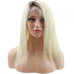 Silky Straight 4/613 Ombre Blonde Lace Front Wigs For Women Brazilian Virgin Human Hair With Baby Hair Full Lace Wig