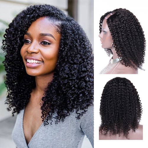 U Part Wig Human Hair for Black Women Brazilian Kinky Curly Natural Color
