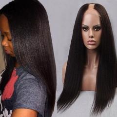 U Part Wig Virgin Indian Hair Yaki Straight Hair Glueless U Part  Real Human Hair Wigs