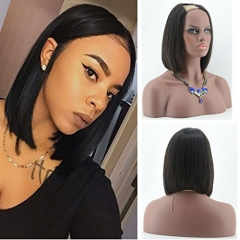 Short Bob Human Hair Wig For African American Silky Straight U Part Human Hair Bob U part Wigs Natural Black