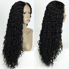 Unprocessed Curly U Part Malaysian Human Hair Wig U part Wigs for Black Women Left Side Parting 1''x4'' inches Natural Color
